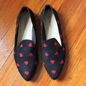 Just Fabulous Black Heart Embroidered Loafers